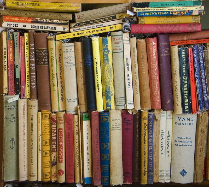 Onderlangs-boekruggen